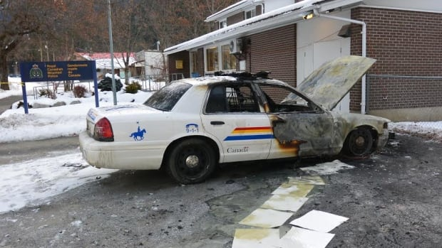 Police say someone set the cruiser on fire on Dec. 19 in front of the Slocan Lake RCMP detachment.