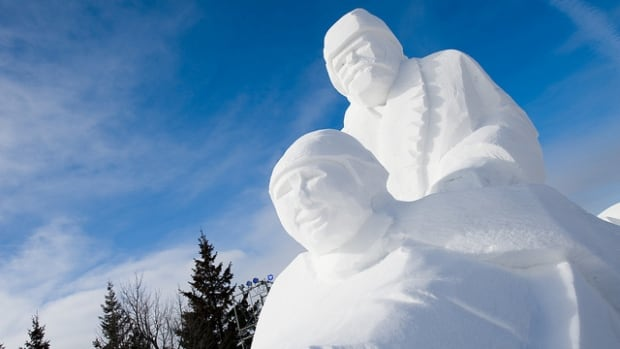 The site of snow sculptures always indicates Festival du Voyageur is on.