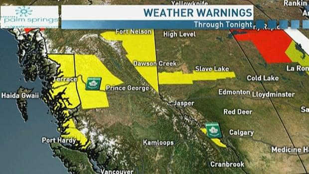 Wind and rain warnings for B.C., snowfall warnings for Alberta