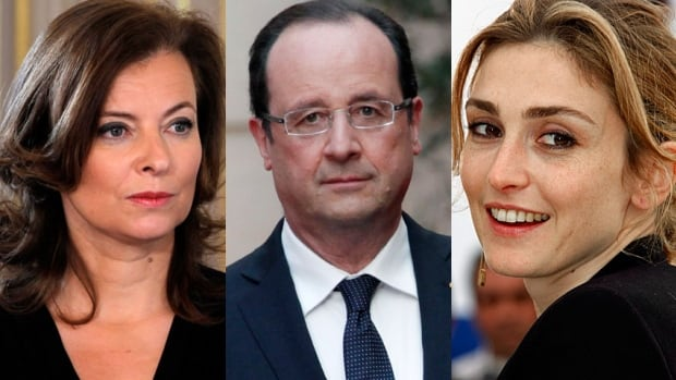 Caught in the middle? At left, the French president's official partner, Valérie Trierweiler. At right, actress Julie Gayet, with whom he is rumoured to have been having an affair.