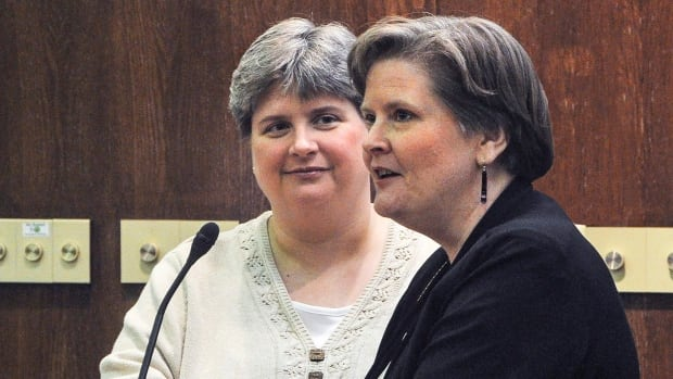 Sharon Baldwin, left, and Mary Bishop, seen here in October 2013, were two of four plaintiffs in a lawsuit challenging Oklahoma's ban on same-sex marriage. A U.S. judge struck down the ban on Jan. 14, but stayed his ruling.