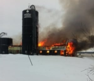 Barn fire in Verner