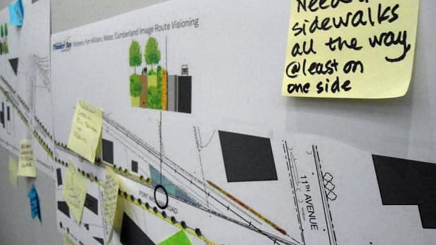A drawing of the consultant's plan for the Fort William route was posted along one wall. People wrote ideas on sticky notes and posted them in appropriate areas along the route.