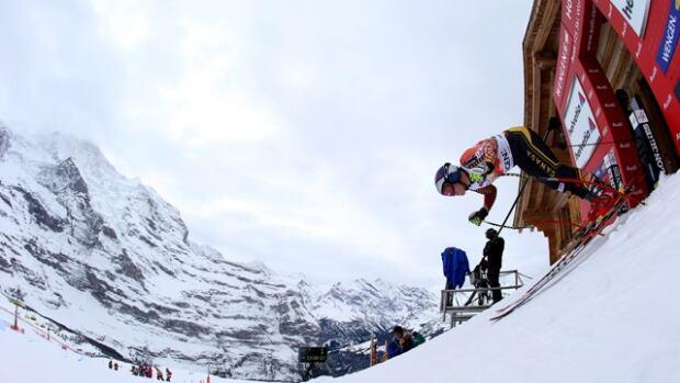 Canada's Erik Guay starts his downhill training run in Wengen, Switzerland on Thursday.