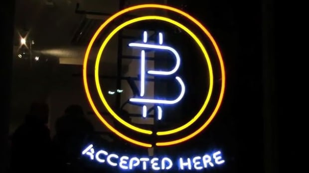 Bitcoins are accepted at an ATM at Spadina and King in Toronto.