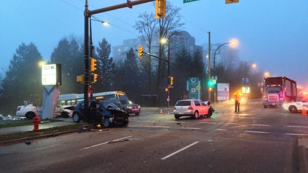 One person was killed and several others were injured in the collision at the intersection SE Marine Drive and Kerr Street on Thursday morning.