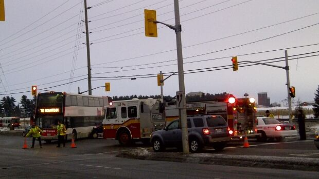 An OC Transpo double-decker bus was T-boned by a car Wednesday morning after the driver of the bus failed to stop at a red light.