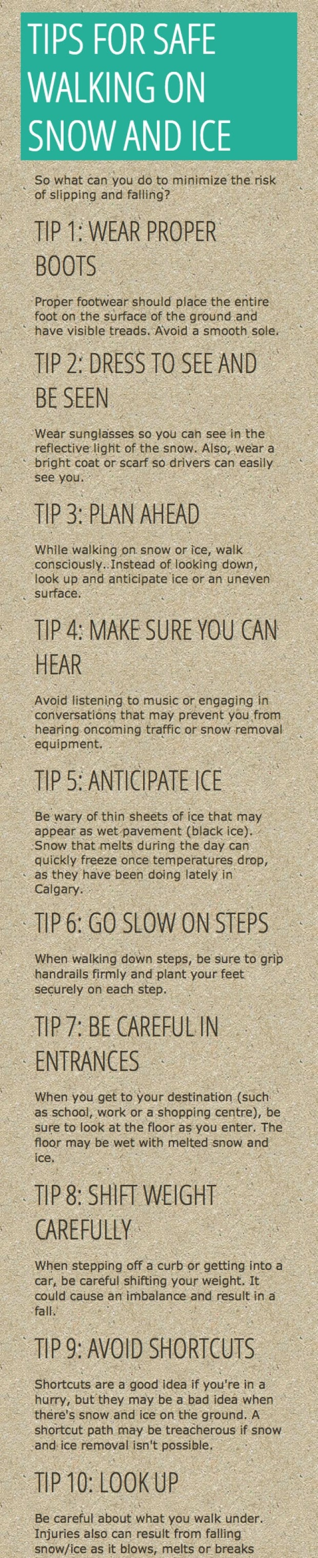 10 tips for walking on snow and ice