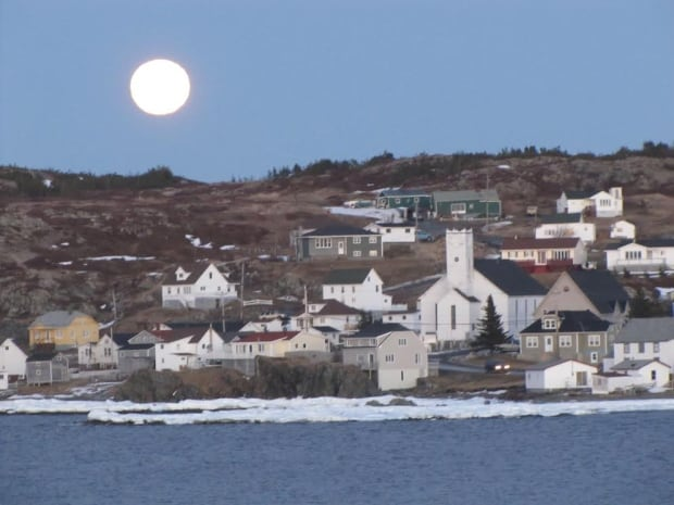 Full moon rising over Twillingate