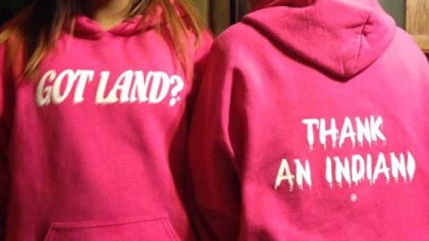 The message on this sweatshirt has set off intense discussions across Canada.