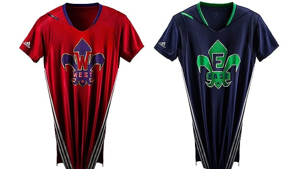 West and East team jerseys to be worn in the 2014 NBA All-Star Game on Feb. 16, in New Orleans.