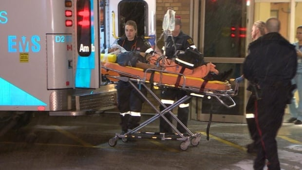 A man in his 20s was taken to hospital after he was shot in the abdomen at Frankie Boys Bar, located at Victoria Park and Lawrence.