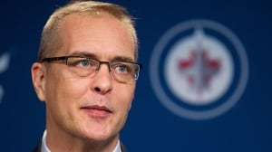 Paul Maurice speaks to the media after his first game as head coach of the Winnipeg Jets at the MTS Centre on January 13, 2014 in Winnipeg.