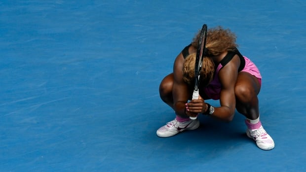 Serena Williams of the U.S. reacts after losing a point to Ana Ivanovic of Serbia during their fourth-round match at the Australian Open on Saturday.