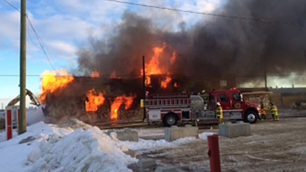 Fire guts the historic hotel and restaurant in Ryley, Alta., about an hour southeast of Edmonton.