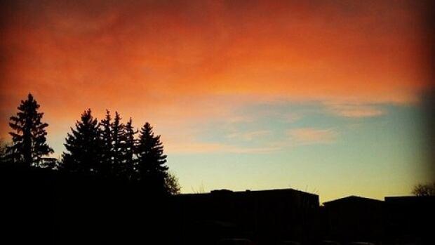 The sun sets on Saskatoon.