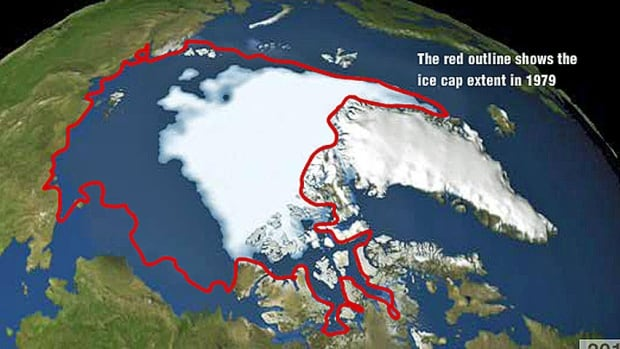 A visualization from NASA's Jet Propulsion Laboratory shows the annual Arctic sea ice minimum from 1979 to 2012. The red outline shows the 1979 coverage of this perennial ice, which has been steadily decreasing ever since.