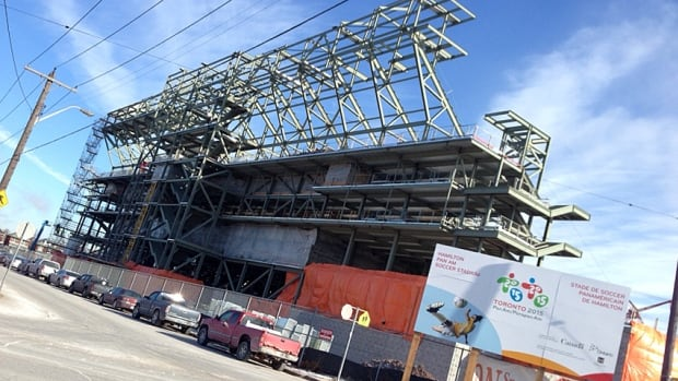 Construction on the new Pan Am stadium is delayed about two weeks. Crews will start pulling double shifts in February to make up for the lost time.