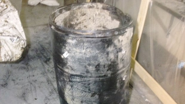 The remains of Chad Davis were found in this barrel, pulled from the Lee River near Lac du Bonnet in 2008. The photo is part of a series shown to jurors at the trial.