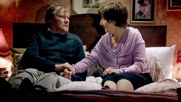 More than 10 million people watched Coronation Street Monday, as beloved character Hayley Cropper (Julie Hesmondhalgh, at right), sick with incurable pancreatic cancer, took an overdose of drugs and died in the arms of her loving husband Roy (David Neilson).