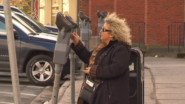 Karen Mitchell says the new parking meters in St. John's are high for someone of her height.
