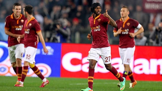 Gervinho of AS Roma celebrates after scoring the opening goal against Juventus FC at Olimpico Stadium on January 21, 2014 in Rome, Italy.