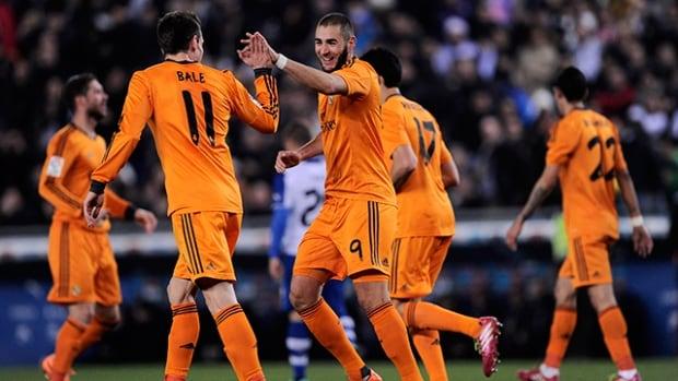 Real Madrid's Karim Benzema celebrates after scoring against Espanyol at the Cornella-El Prat stadium in Cornella de Llobregat on January 21, 2014.