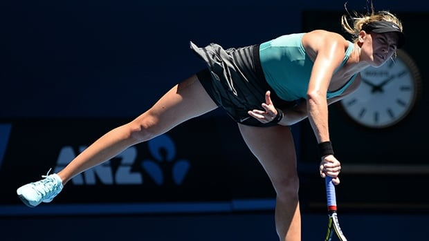 Eugenie Bouchard serves during her match against Ana Ivanovic on Jan. 21, 2014.