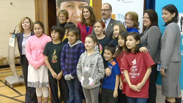 Infrastructure Minister Ric McIver made the school upgrade announcements at a southeast Calgary school today along with students and members of the Calgary Board of Education.