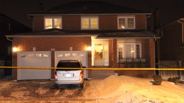 Police responded to the scene of a fatal stabbing at this house on Kingknoll Drive in Brampton Tuesday night. A man who was also stabbed is in critical condition.