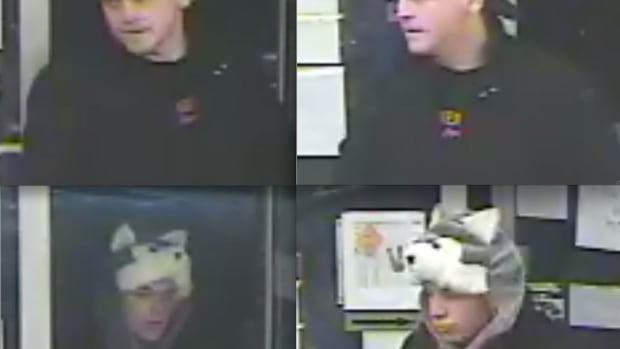 Police have released surveillance photos of two suspects in a gas station robbery in Hamilton.