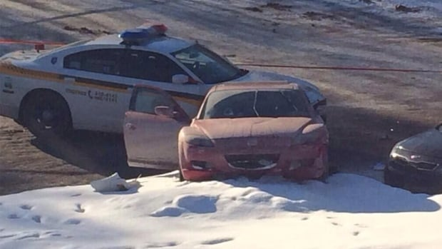 The car involved in the police chase in Ste-Adèle, Que.