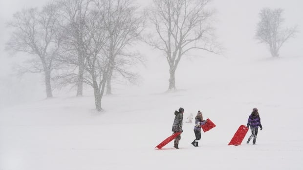 Young people take advantage of school cancellations due to the weather as they slide on Citadel Hill in Halifax on Wednesday.