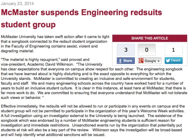 McMaster Redsuits suspension