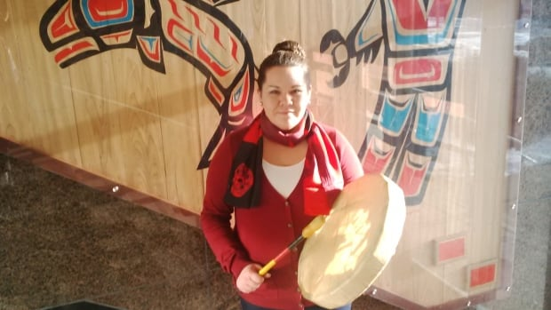 Briana Ireland, a member of Skatin' First Nation, says her family practises hand drumming, singing, and smudging as a traditional way of praying and meditating.