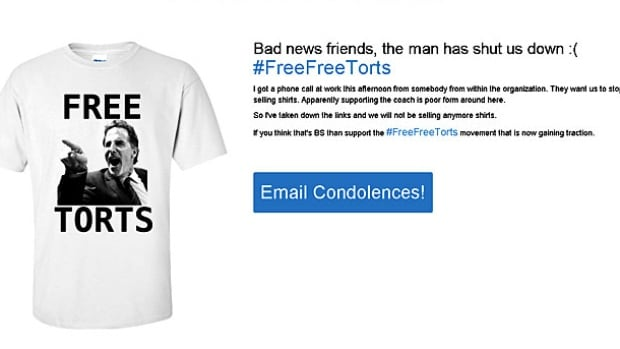 The operators of the FreeTorts.com say they were warned to stop selling T-shirts of the Canucks coach or face a lawsuit from the NHL.