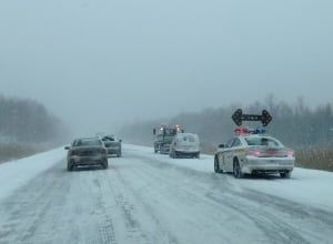 snow on Highway 40 east near Lavaltrie