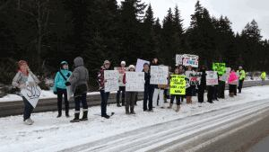 UNB students at the Saint John campus protested the ongoing faculty strike on Monday