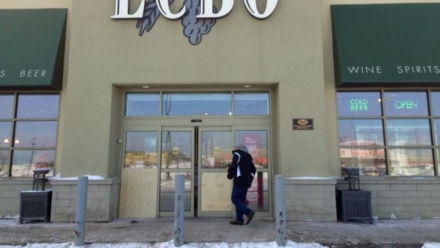 Police say four people smashed the glass doors to gain entry to an LCBO outlet at the Thunder Centre on Fort William Road the store, just after 1 a.m.
