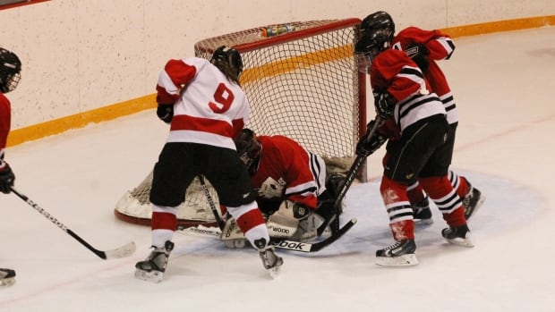 It took eight overtime periods for the hockey game between the Rosetown Red Wings and the Elrose Aces. Erose won 1 - 0.