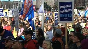 During the last round of failed contract negotiations in 2012, striking teachers in staged a rally against back to work legislation at the legislature.