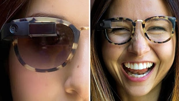 On her public Google Plus page, Google Glass lead designer Isabelle Olsson posted these photos of an employee modelling new styles of the Google Glass internet-enabled eyewear.