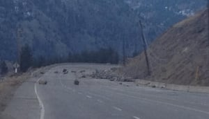 Highway 3 rock slide - Tuesday photo
