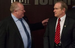 Mayor Rob Ford speaking with Deputy Mayor Norm Kelly