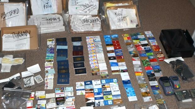 RCMP say inside the van they found hundreds of pieces of stolen ID and mail.