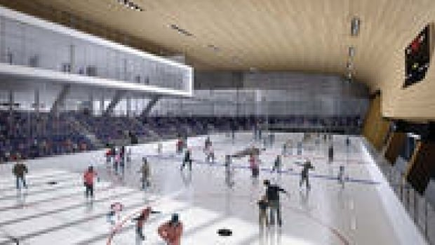 The community rink would be built next to the new downtown arena.