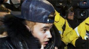 Bieber arrives
