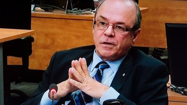 Former FTQ president Michel Arsenault is seen on a photograph taken off a television monitor at the Charbonneau inquiry looking into corruption in the Quebec construction industry.