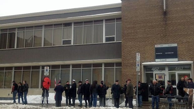 """Veterans in Windsor held what they called a """"memorial service"""" Friday over the loss of the local Veterans Affairs Canada office."""