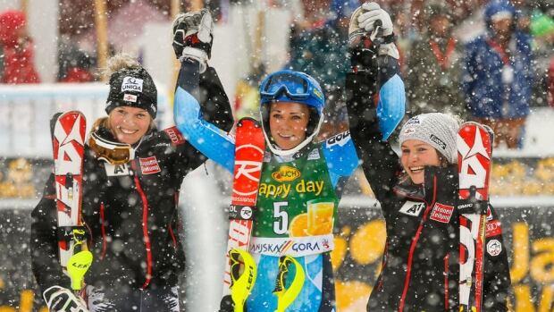 Marlies Schild of Austria took second place, Frida Hansdotter of Sweden took first place, and Bernadette Schild of Austria was third in the World Cup Women's Slalom on Sunday in Kranjska Gora, Slovenia.